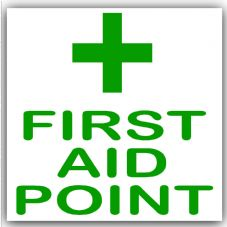 1 x First Aid Point-Green on White,External Self Adhesive Stickers-Medical,Health and Safety Signs